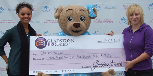 Presenting the cheque to Claire House