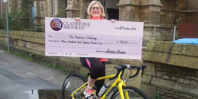 Nicola with her cheque