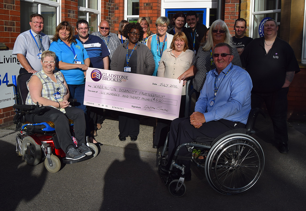 Warrington Disability partnership cheque